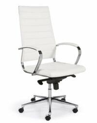 Design Bureaustoel Wit, hoge rug