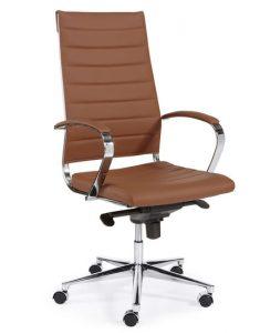Design Bureaustoel Bruin, hoge rug