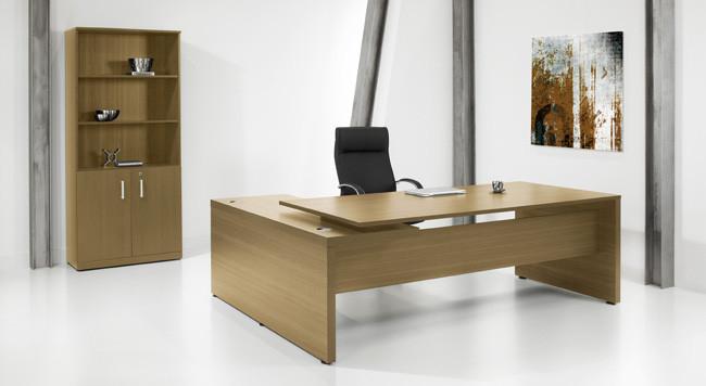 Directie hoekbureau kaneel noten 230x172cm ladeblok for Accessoire bureau luxe