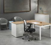 Luxe Bureau met ladeblok Wit 180x160cm