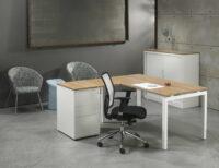 Luxe Bureau met ladenblok Wit 180x160cm