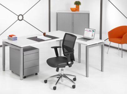 Luxe bureau Alu 180x80cm + Aanbouwtafel