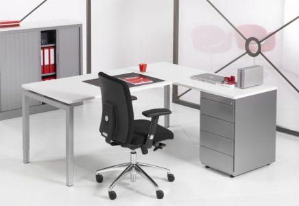 Luxe bureau met ladeblok Alu 180x160cm