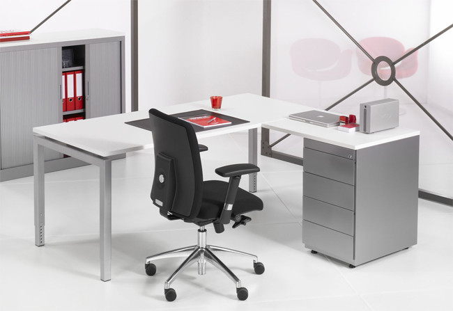 Luxe bureau met ladeblok alu cm kantoormeubelen pro