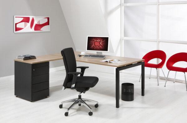 luxe bureau met ladeblok zwart 180x160cm