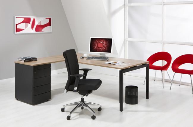 Luxe bureau met ladeblok zwart cm kantoormeubelen pro