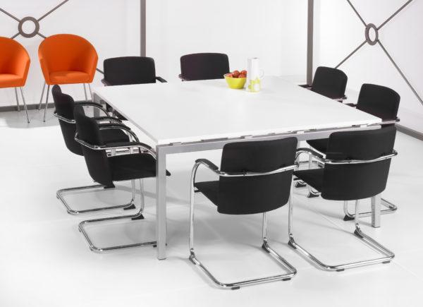 Ergonomisch Bureau vergadertafel Aluminium 160x160cm