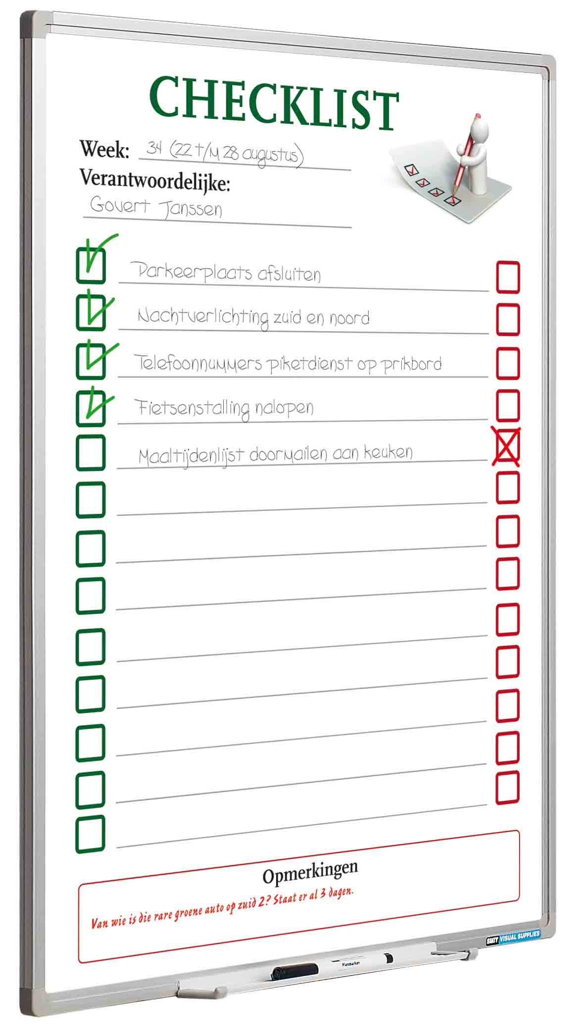 Full Colour planbord, Softline profiel, Checklist NL-90x60 cm