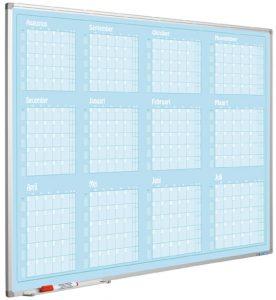 Jaarplanner blauw, Softline profiel, Jan- Dec, NL-90×120 cm