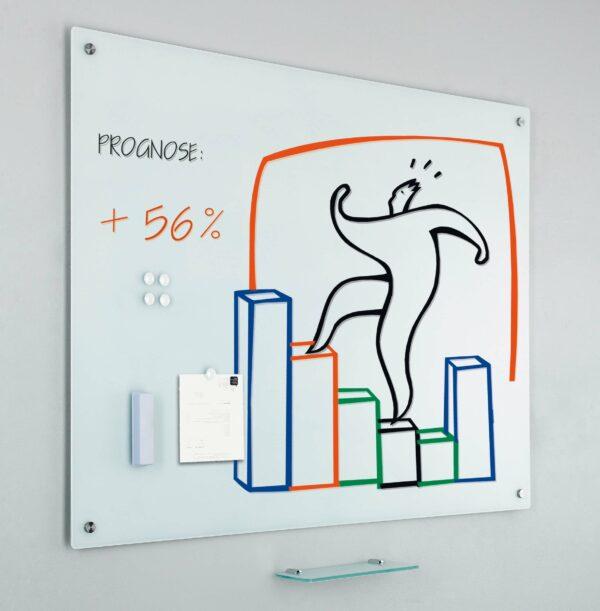 Glass2write glasbord, magnetisch, wit