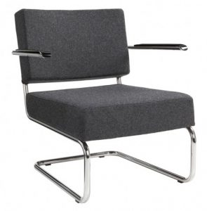 RETRO FAUTEUIL IN WOLVILT STOFFERING Antraciet