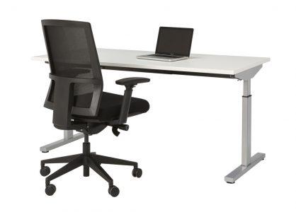 Bureau Sophie 160x80cm – wit blad – aluminium