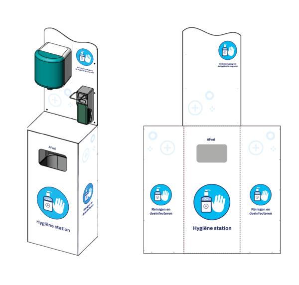 Hygiëne Station Compleet desinfectie paal - Standaard wit
